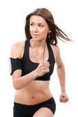 Fitness beautiful slim brunette sport woman jogging and running — Stock Photo