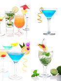 Tropical Cocktails Cocktails collage Martini, Mojito — Stock Photo