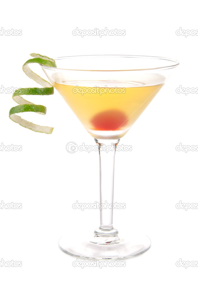 Yellow banana martini cocktail in martinis glass with lime twist and cherry isolated on a white background — Stock Photo #6074060
