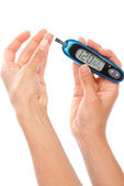 Dependent Diabetes patient measuring glucose level blood test — Stock Photo