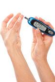 Dependent Diabetes patient measuring glucose level blood test — Stock Photo