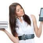 Female compare books and new wireless reading digital book — Stock Photo