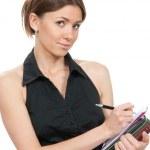 Business woman thinking, writing — Stock Photo