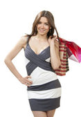 Beautiful woman with shopping bags from supermarket — Stock Photo