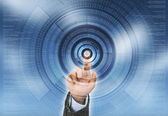 Dotykanie przyszłości vitual komunikacji sieci — Zdjęcie stockowe