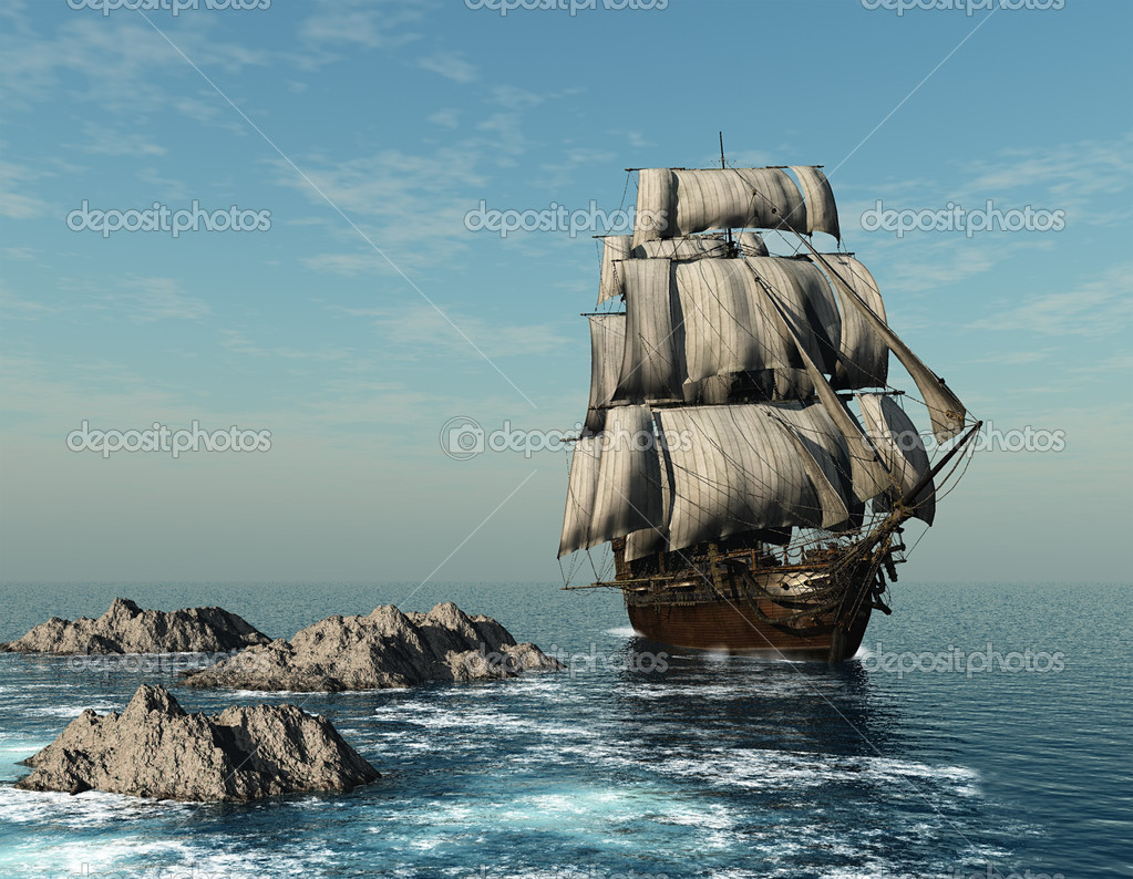 The ship sails at sea — Stock Photo #6156303