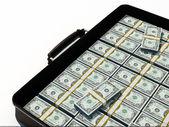 Suitcase of dollars — Stock Photo