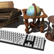 Keyboard, old books — Foto Stock