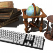 Keyboard, old books — Stockfoto