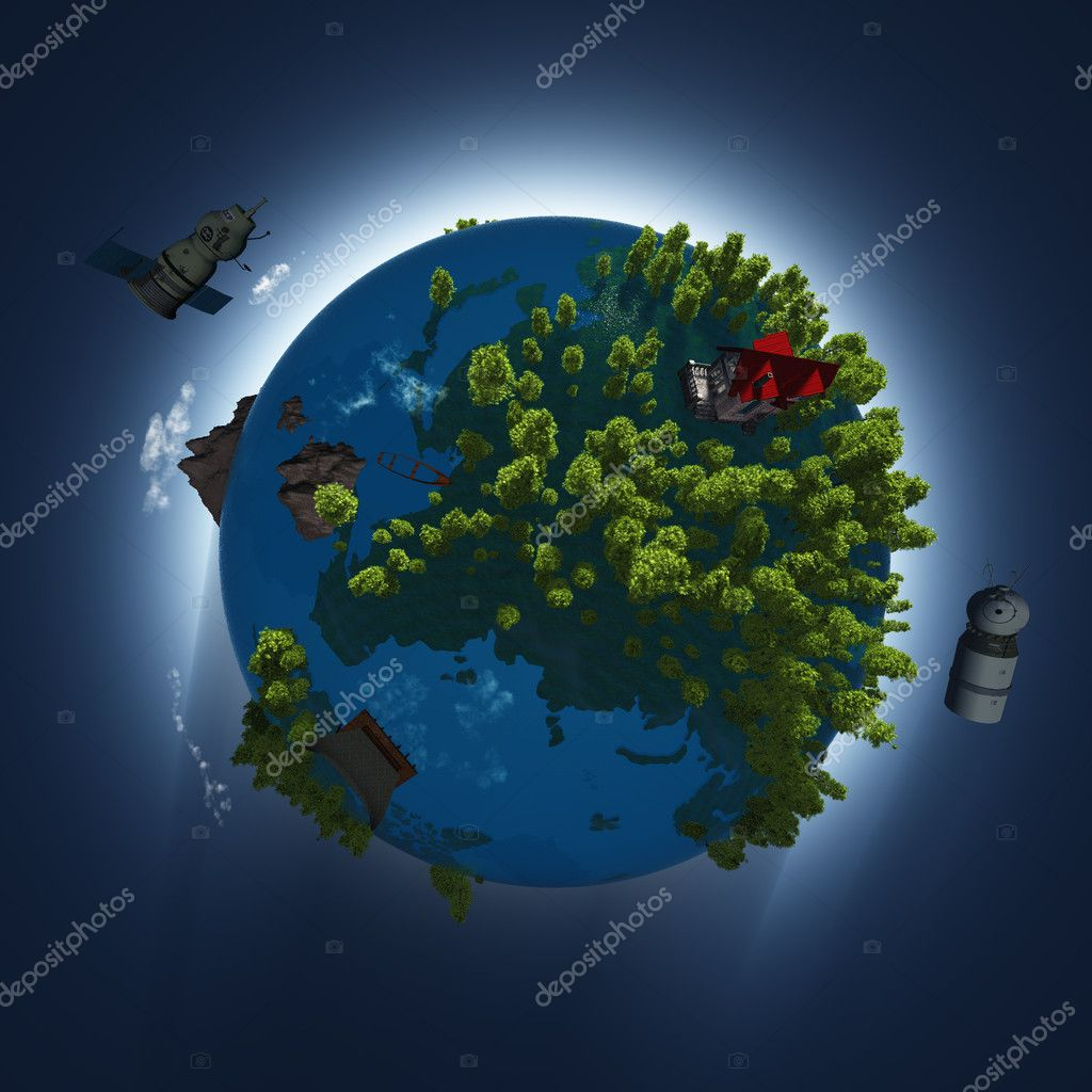 Model of the globe  on a blue sky. — Stock Photo #6694973