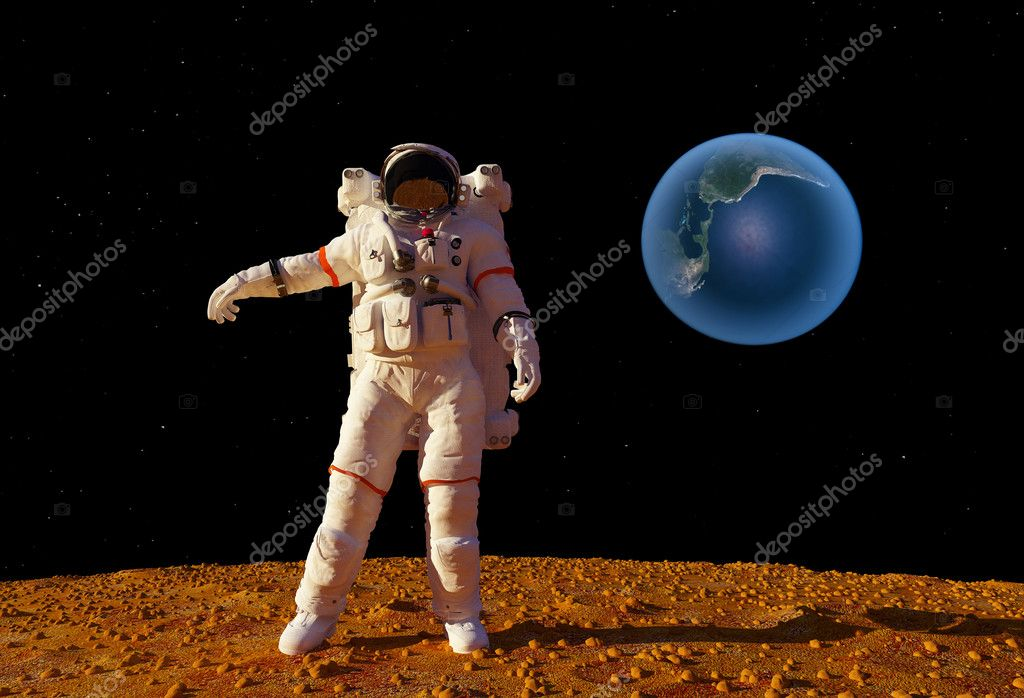 The astronaut  on the background of the planet. — Stock Photo #6694984