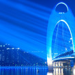 Bridge Night scene with spot light — Stock Photo #5837855