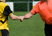 Shaking hands on sport — Stock Photo