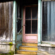 Retro abandonned faade with pastel tint - Stock Photo