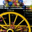 A retro cart with flowers at breton festival — Stock Photo