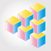 Abstract color design 3D, impossible object - vector — Stock Vector