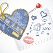 Royalty-Free Stock Vector Image: Collection of hand-drawn and jeans hearts in a piece of paper