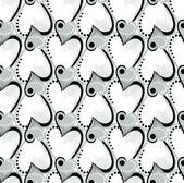 Retro black and white seamless heart pattern — Stock Vector