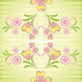 Flower heart stripe seamless pattern — Stock Vector