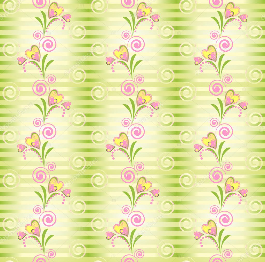 Flower pink and yellow heart stripe seamless pattern. Stripy green seamless pattern with flower heart. Romantic endless texture. — Stock Vector #6048275