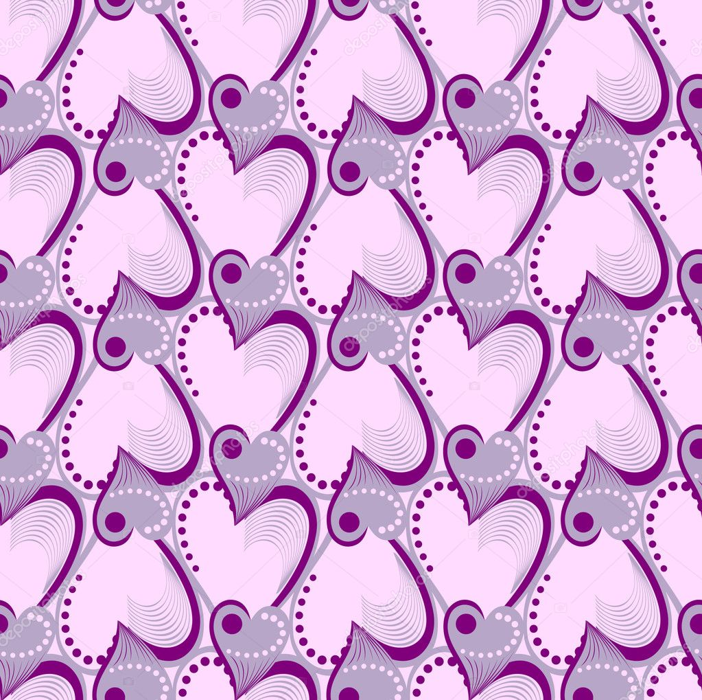 Valentine's Day. Seamless pattern with purple and pink hearts — Stock Vector #6048646