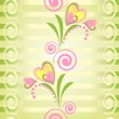 Stock Vector: Flower heart stripe seamless pattern