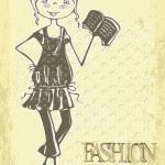 Retro cute smile girl. Vintage hand drawn fashion doodles — Stock Vector #6160220