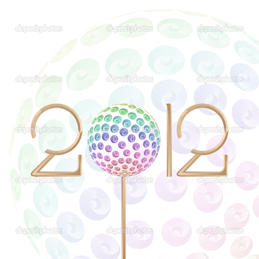 2012 New Year Celebration colorful abstract Background with circle Glitters — Stock Vector #6160041