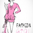 Royalty-Free Stock Vector Image: Fashion girl in sketch-style. Vector illustration.