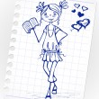 Royalty-Free Stock Immagine Vettoriale: Hand-drawn fashion smile girl