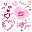 Love doodles, i love you — Stock Vector