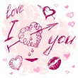 Valentine I Love You Vector hand drawn — Stock Vector