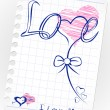 Stock Vector: Love doodles card. Set icon - hand drawn hearts on lined paper.