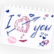 Royalty-Free Stock Vector Image: Love doodles. Set icon - hand drawn hearts on lined paper.