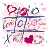 Hand drawn vector Tic Tac Toe Love kiss Hearts. — Stock Vector