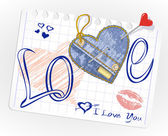Collection of hand-drawn and jeans hearts in a piece of paper — Stockvector
