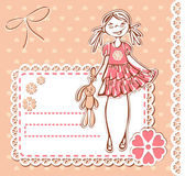 Cute cartoon smile happy baby girl frame — Stock Vector