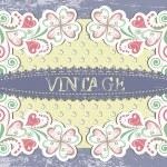 Scrap vintage frame on floral grange background — Stock Vector