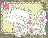 Vintage flower frame design for greeting card — Stock Vector