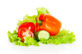 Mix of tomatoes and cucumber on a salad — Stock Photo