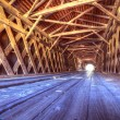 Interior of Watson Mill Covered Bridge - Stock Photo