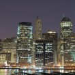 Lower Manhattan at Night - Stock Photo