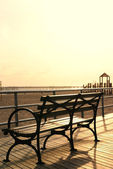 Coney Island Boardwalk Bench — Stock Photo