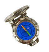 Compass in a corps from threw with a dark blue clock-face — Stock Photo