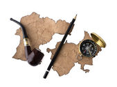 Compass, smoking tube and pencil — Stock Photo