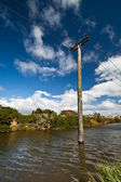 Flooded Electricity Pylon — Stock Photo
