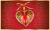 Beautiful card with golden heart — Stock Vector
