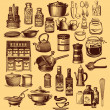 Vintage set of kitchen accessories and ware — Stock Photo