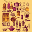 Vintage set of kitchen accessories and ware — Stock Photo #5430749