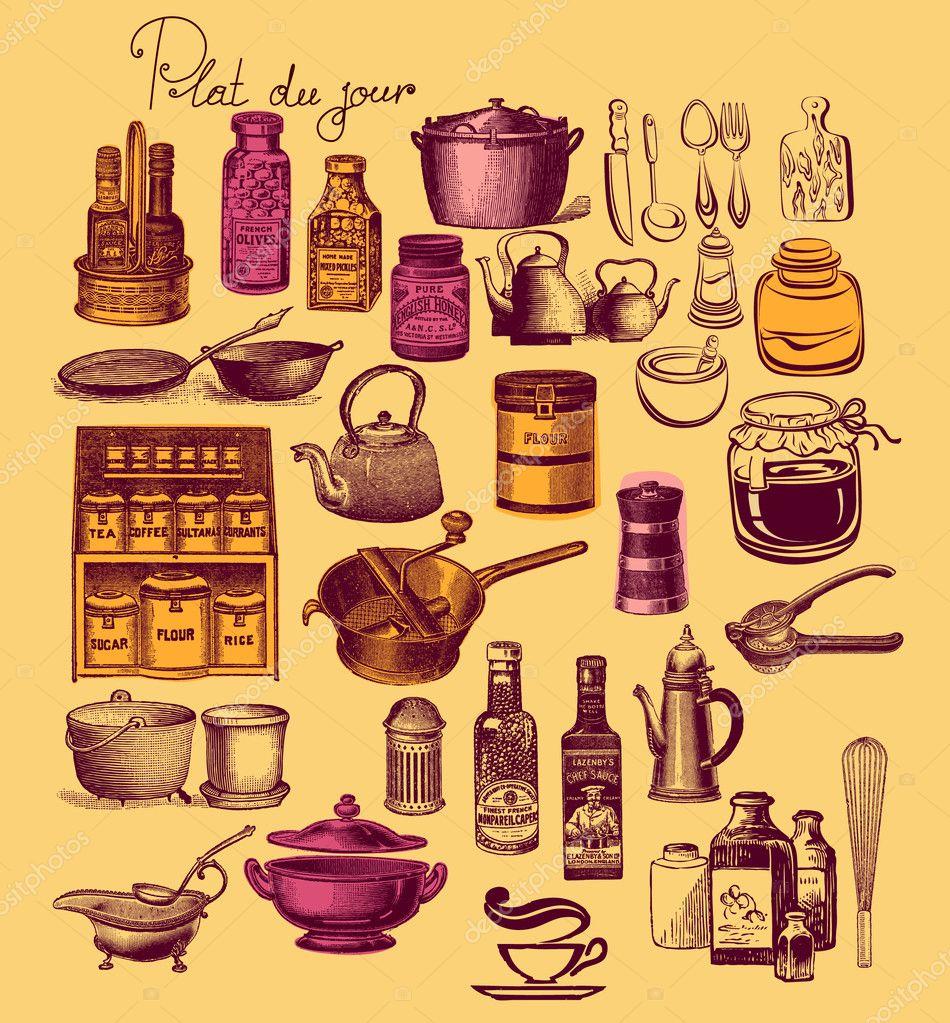 Retro Keuken Accessoires : Downloaden – Vintage set keuken accessoires en ware ? Stockbeeld